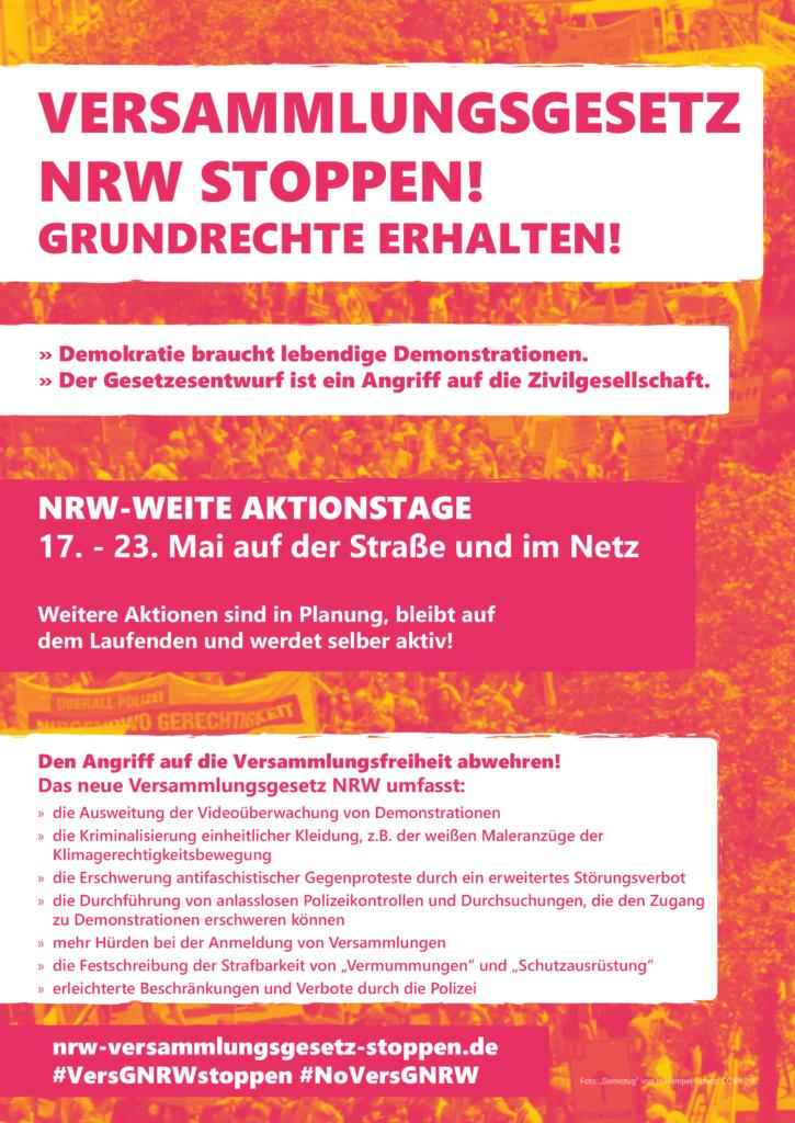 Erstes Plakat des Bündnisses Versammlungsgesetz NRW stoppen